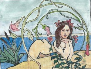 Le bain - A la Mucha dans Dessin - Aquarelle Bain-300x226