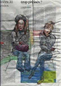 metro-10-216x300 Dessin de métro dans Watercolor