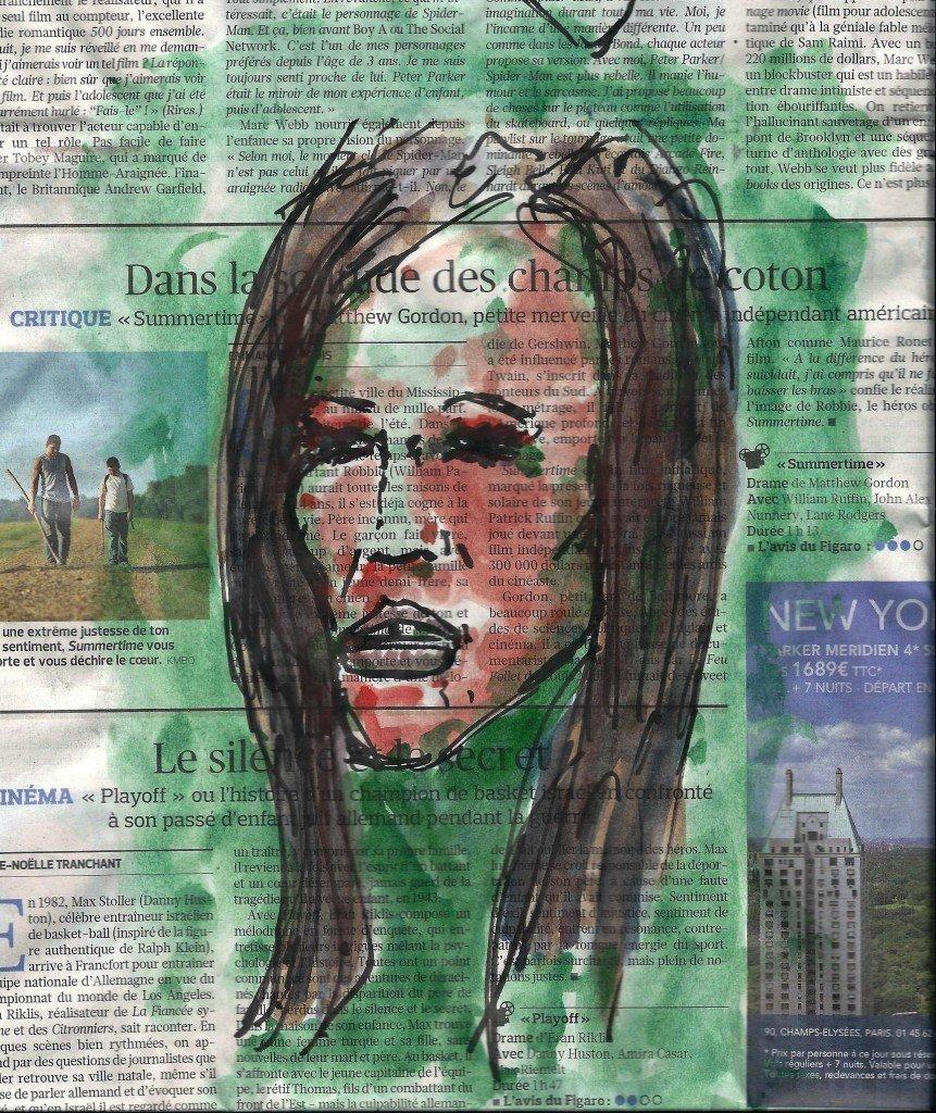 Portrait en rouge et vert dans Dessin - Aquarelle metro-1200002